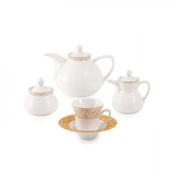 Zarin Iran Shahrzad Geometrical Gold 18pcs Tea Set