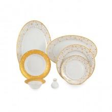 Zarin Iran Shahrzad Geometrical Gold 35pcs Dinnerware Set