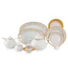 Zarin Iran Shahrzad Geometrical Gold 108pcs Dinnerware Set