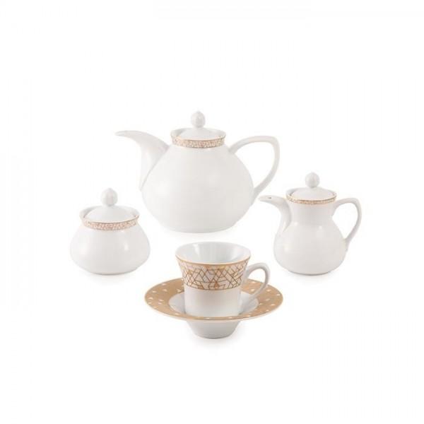 Zarin Iran Shahrzad Geometrical Platinium 18pcs Tea Set