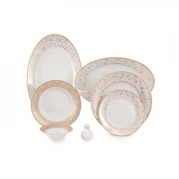 Zarin Iran Shahrzad Geometrical Platinium 35pcs Dinnerware Set
