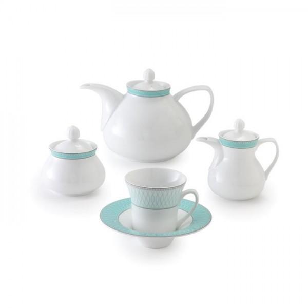 Zarin Iran Shahrzad Zhanti Turquoise 18pcs Tea Set