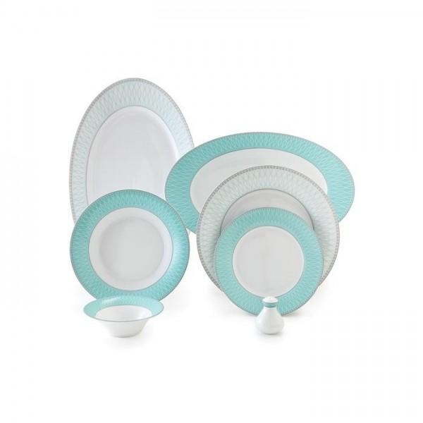 Zarin Iran Shahrzad Zhanti Turquoise 35pcs Dinnerware Set