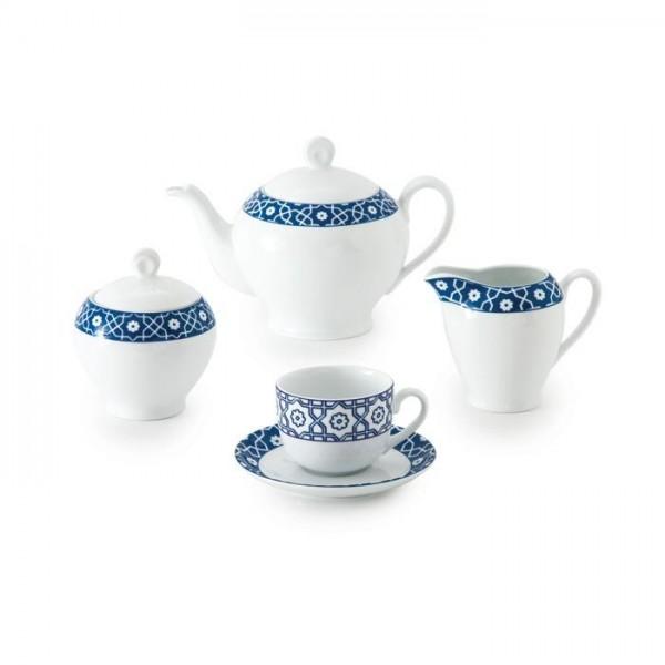 Zarin Iran Italia F Meybod Dark Blue 17pcs Tea Set