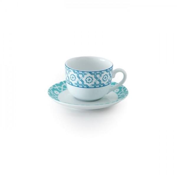 Zarin Iran Italia F Meybod Dark Blue Turquoise 12pcs Tea Set