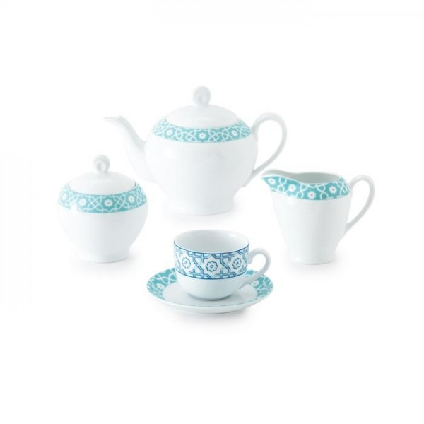 Zarin Iran Italia F Meybod Dark Blue Turquoise 17pcs Tea Set
