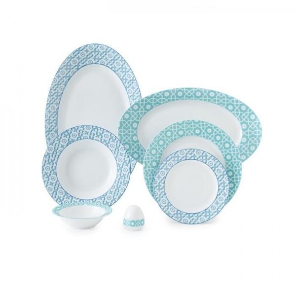 Zarin Iran Italia F Meybod Dark Blue Turquoise 28pcs Dinnerware Set
