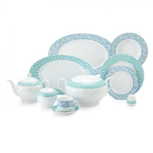 Zarin Iran Italia F Meybod Dark Blue Turquoise 102pcs Dinnerware Set