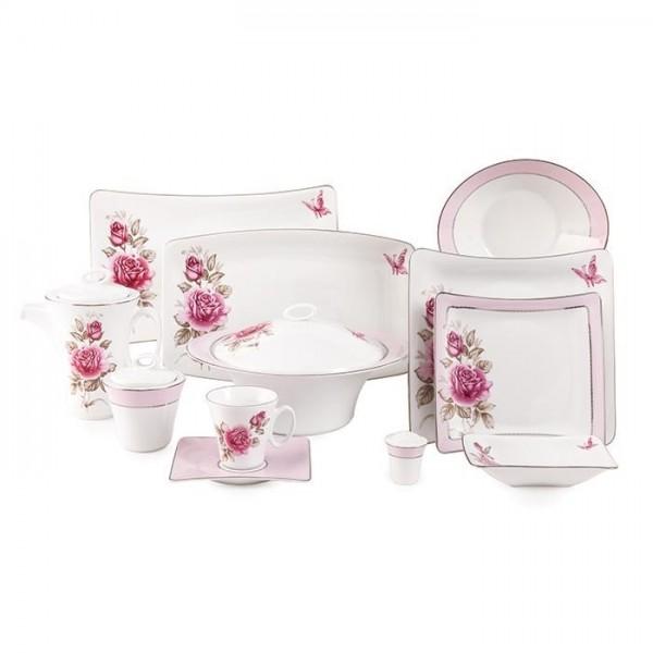 Zarin Iran Vinci Rose Flower Platinum 97pcs Dinnerware Set