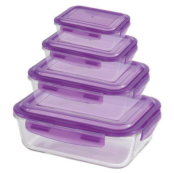 Barico - 4pcs-Set Rectangular Borosilicate Glass Food Storages