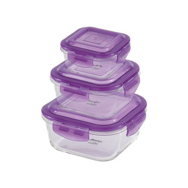 Barico - 3pcs-Set Square Borosilicate Glass Food Storages