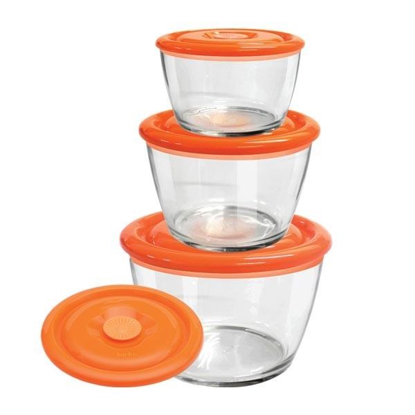 Barico - 3pcs-Set Round Temper Glass Food Storages