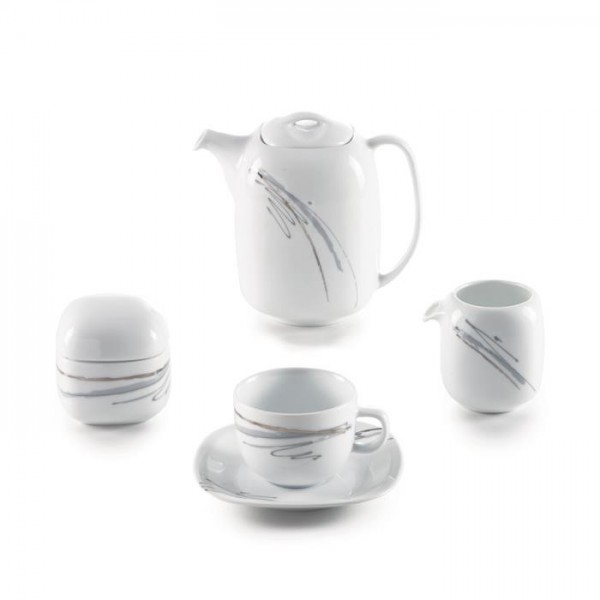 Zarin Iran Quattro Alba Gray Platinum 17pcs Tea Set