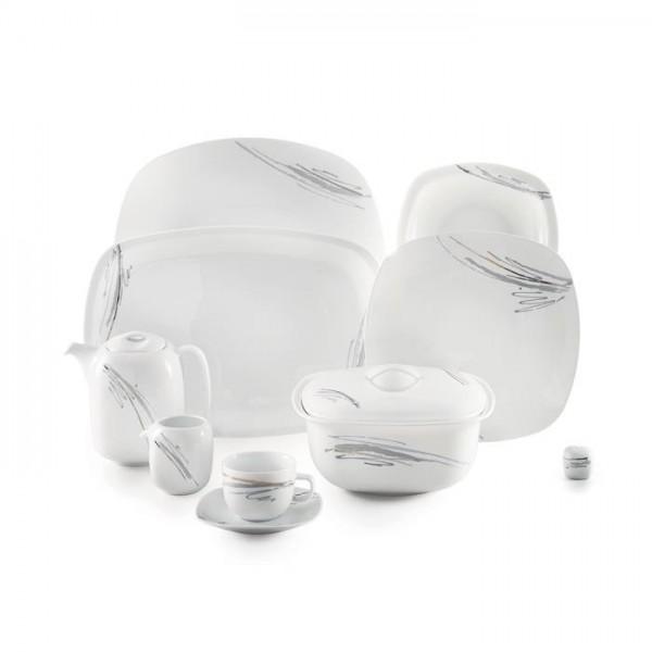 Zarin Iran Quattro Alba Gray Platinum 98pcs Dinnerware Set